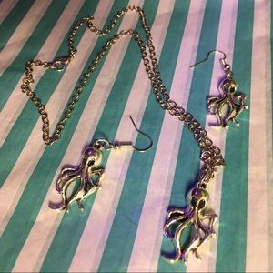 Giant Squid earring & necklace set, silver alloy